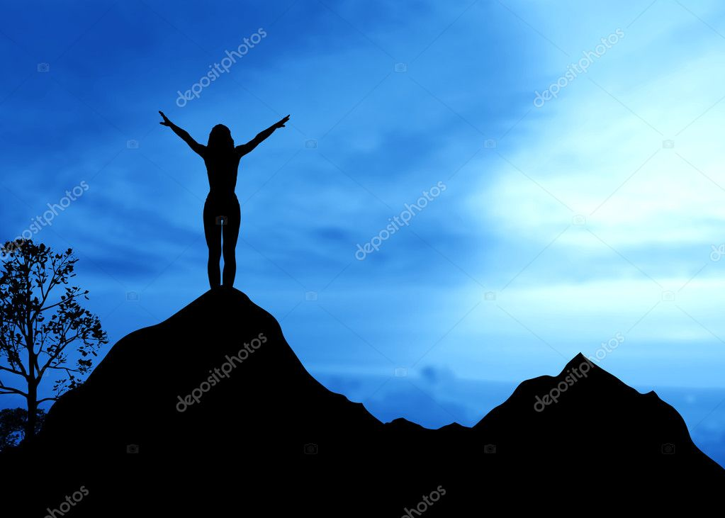 High resolution graphic of a woman standing on top of a mountain.  — Stock Photo #4685571