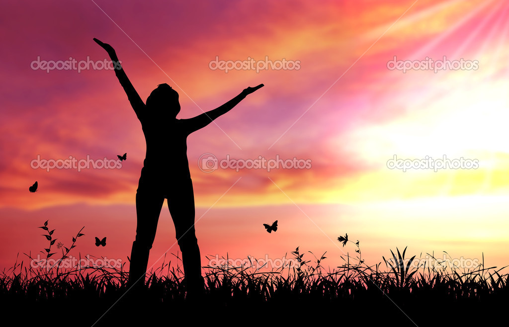 High resolution graphic of woman praising the lord.   Stock Photo #4686127