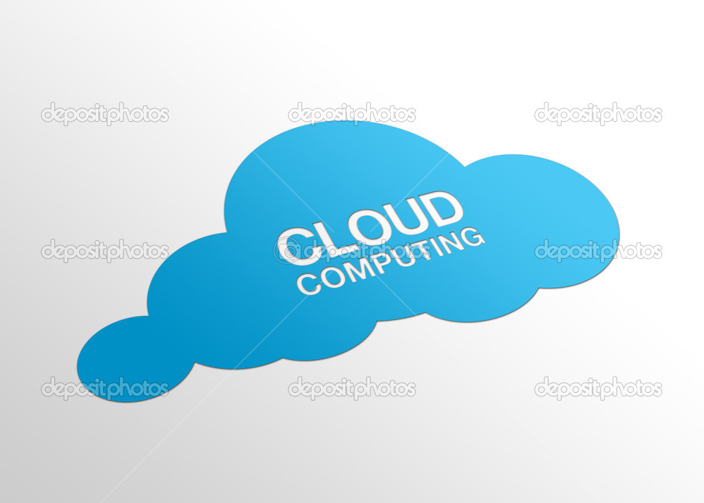 High resolution perspective graphic of a cloud and the words cloud computing. — Stock Photo #4804775
