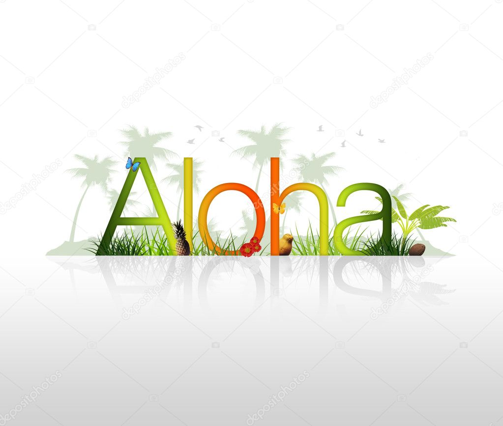 High Resolution graphic of the word Aloha with tropical elements. — Stockfoto #5159589
