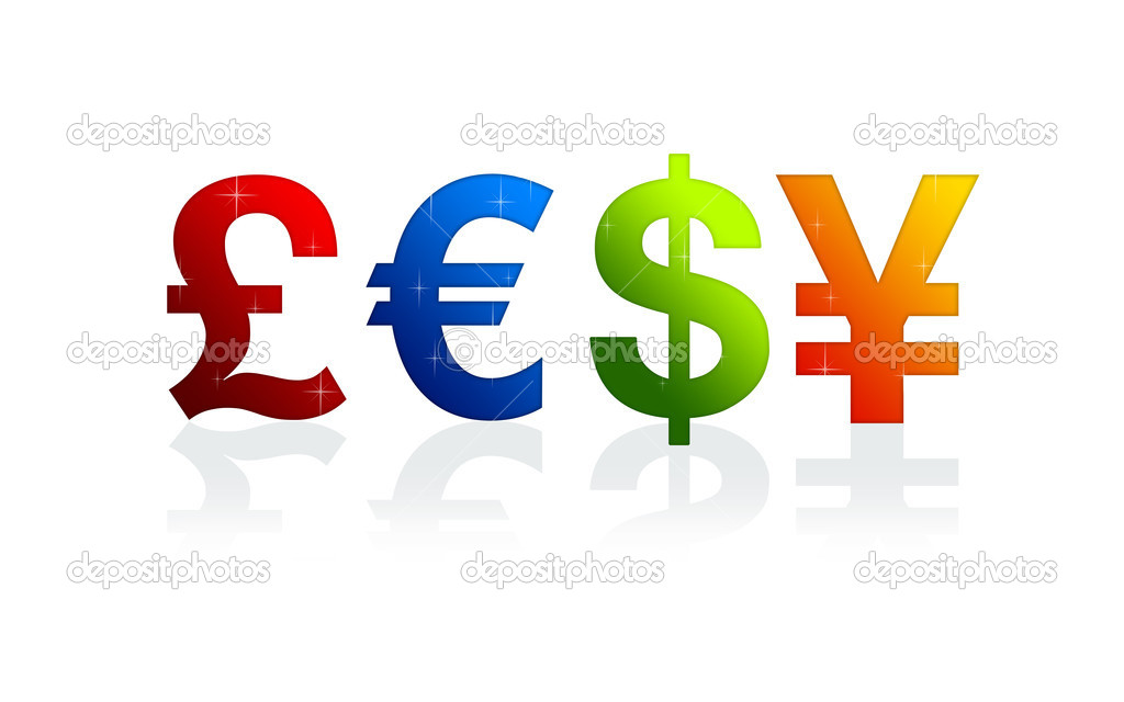 High resolution currency signs of dollar, pound, yen and euro — Stock Photo #5202135