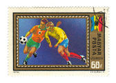 Stamp: Soccer Players — Stock Photo
