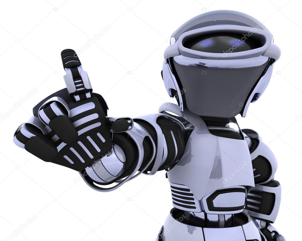 3D render of a robot introducing or presenting  Stock Photo #4240886