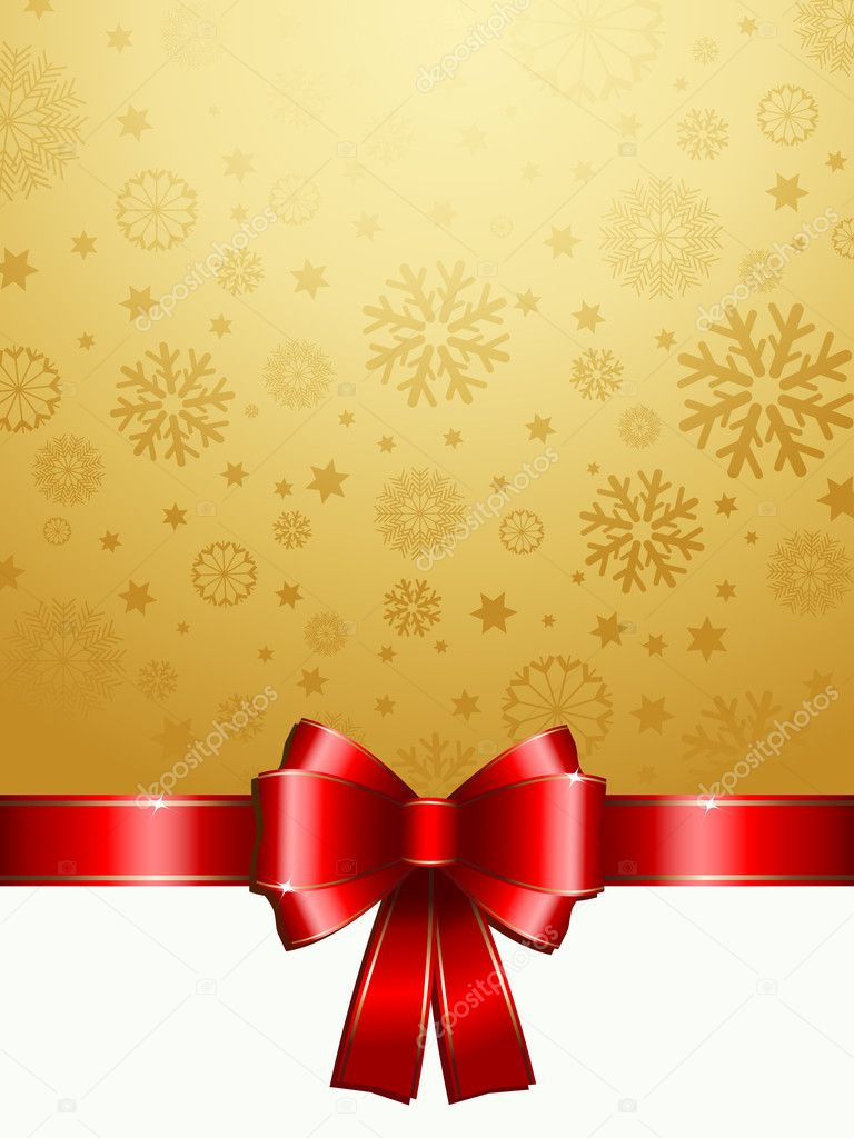 Christmas gift background with glossy red ribbon — Stock Photo #4240986