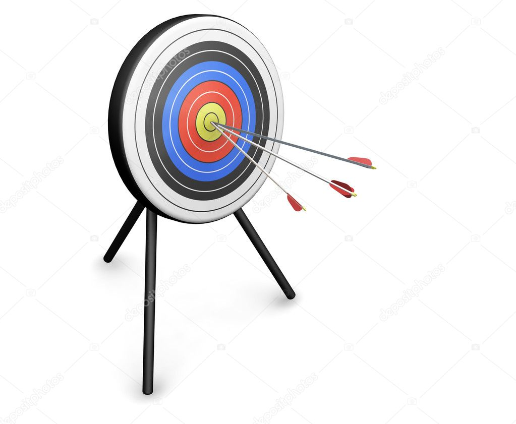 3D render of arrows hitting the bullseye — Stock Photo #4375595