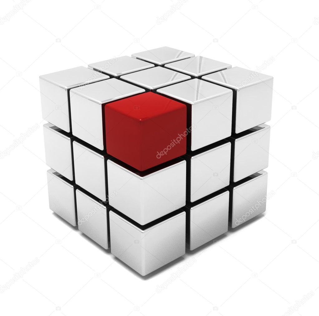 3D render of a cube with one red block  — Stock Photo #4376023