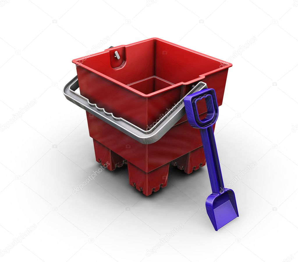 3D render of a bucket and spade — Stock Photo #4376446