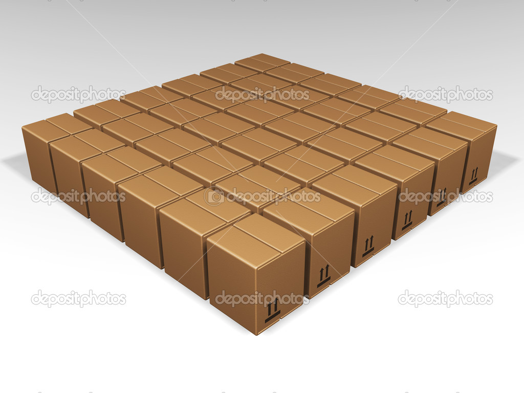 3D render of lots of brown boxes  Stock Photo #4376471