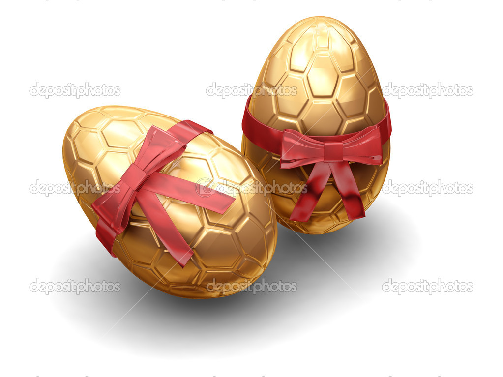 3D render of luxury Easter eggs wrapped in gold with red ribbon — Stock Photo #4378190