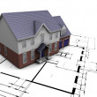 House on plans — Stockfoto