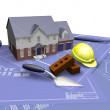 House on blueprints — Stock Photo #4380800