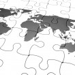 3D render of a jigsaw puzzle with a world map with final piece just added — Stock Photo