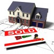 House on blueprints — Stock Photo #4381993