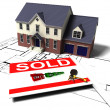 House on blueprints — Stock Photo