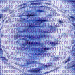 Stock Photo: Wireframe globe on binary code background
