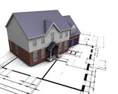 House on plans — Stock Photo