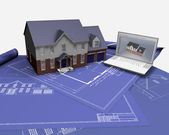 House on blueprints — Foto de Stock
