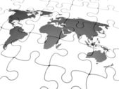 3D render of a jigsaw puzzle with a world map with final piece just added — 图库照片