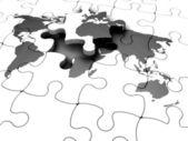 3d render de um quebra-cabeças do mundo com um pedaço faltando — Foto Stock