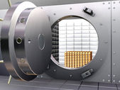 Bank vault with bullions — Stock Photo
