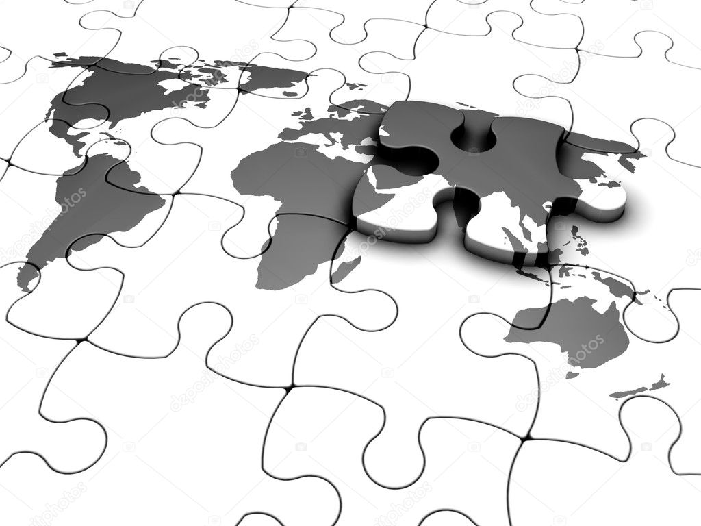 3D render of a jigsaw puzzle with a world map with final piece – Map World Puzzle