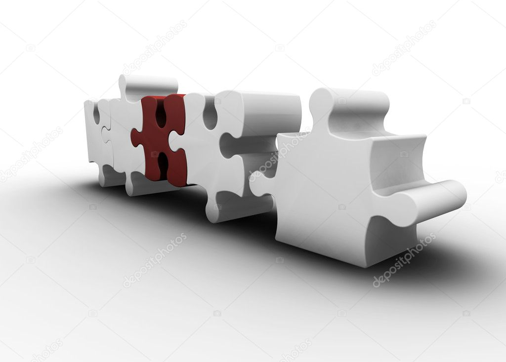 3D render of one red puzzle piece amongst white ones  Stock Photo #4380919