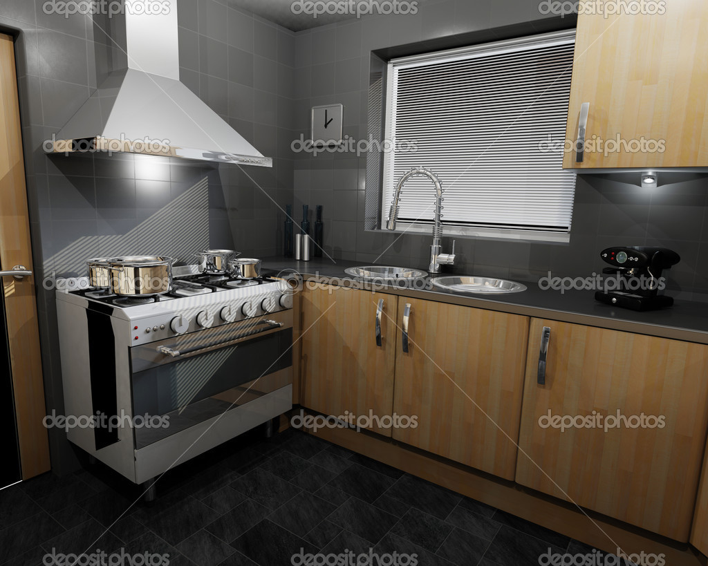 3D render of a contemporary kitchen — Stock Photo #4380953