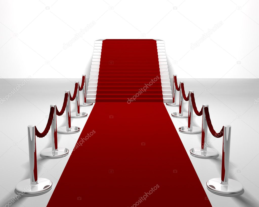 3D render of a red carpet leading up stairs  Stock Photo #4381796