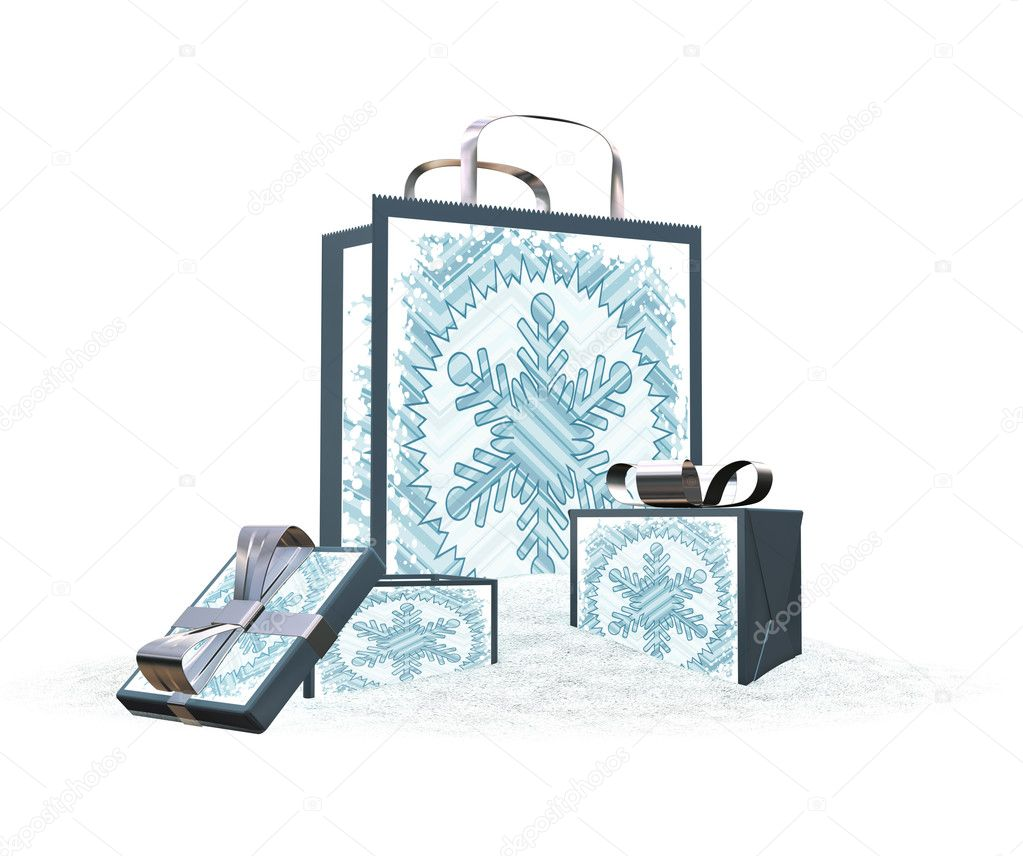 3D render of gift bag and boxes in snow — Stock Photo #4381983