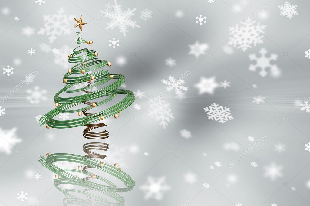 3D render of a Christmas tree on a snowflake background — Stock Photo #4382440