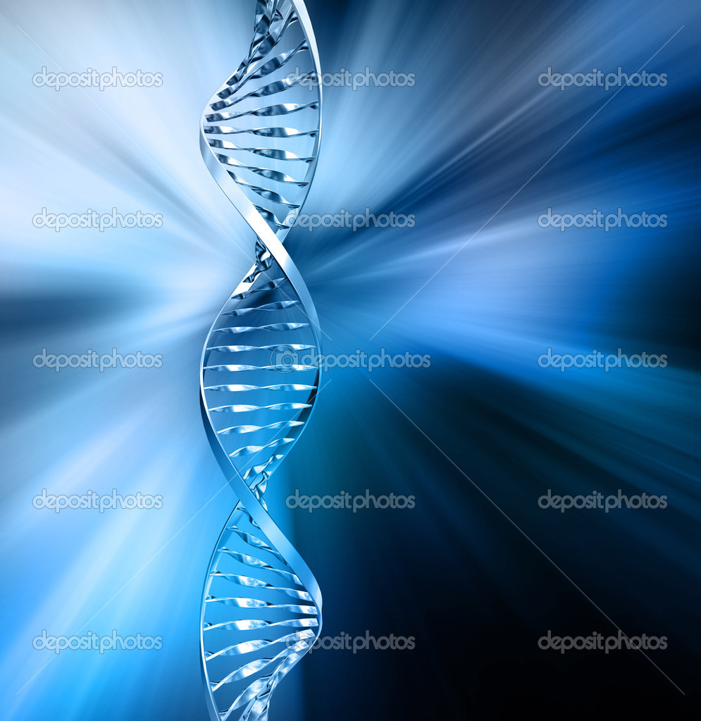 3D render of DNA strands on abstract background — Stock Photo #4382935