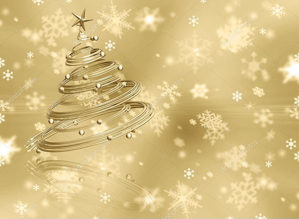 Christmas tree on golden snowflake background — Stock Photo #4385006