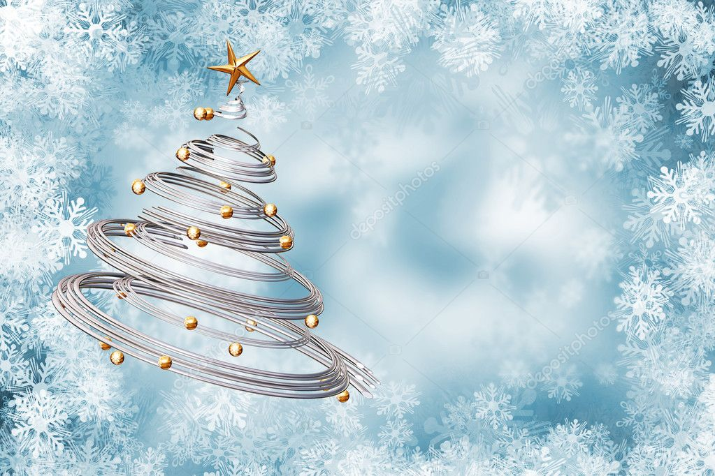 Christmas tree on snowflake background — Stock Photo #4385059