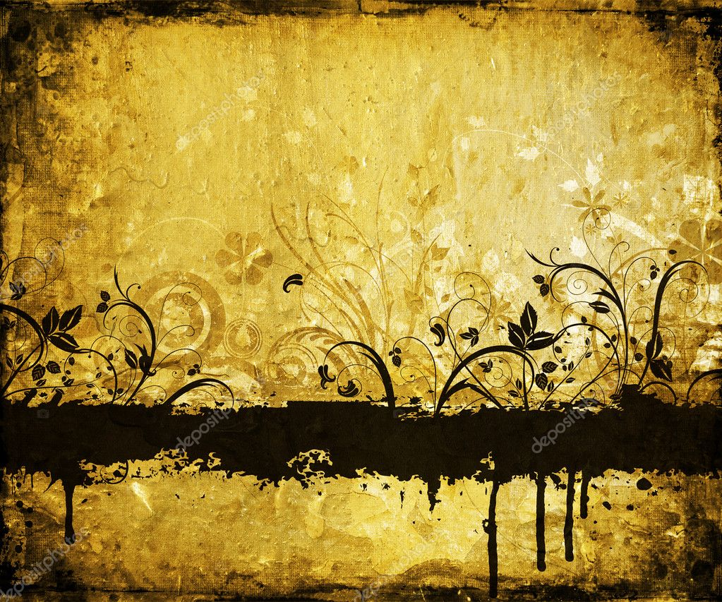 Floral grunge design on grunge background  Stock Photo #4387951