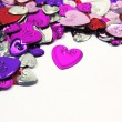 Metallic hearts confetti — Stock Photo