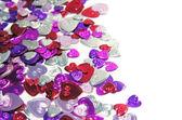Coriandoli cuori metallici — Foto Stock