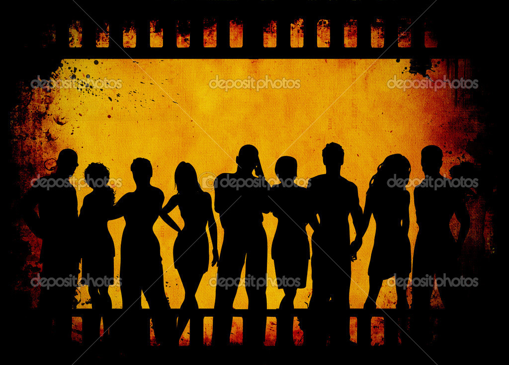Group of young on grunge film strip background — Stock Photo #4390860