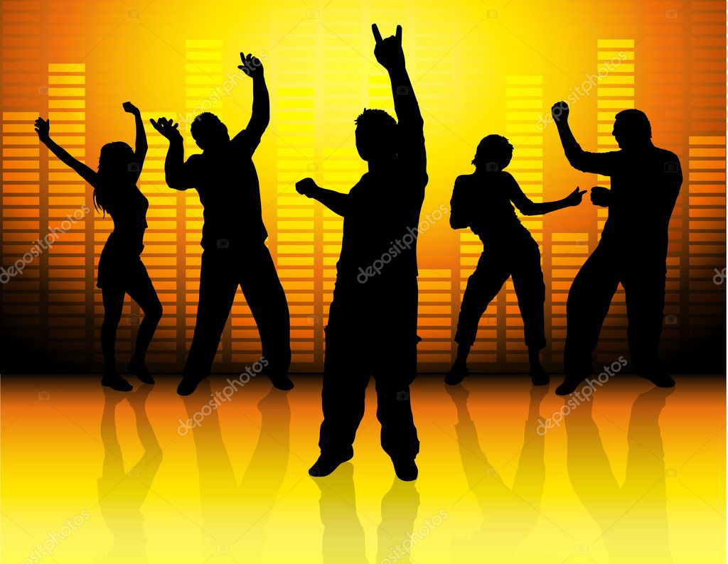 Silhouettes of dancing on music background  Stock Photo #4391210