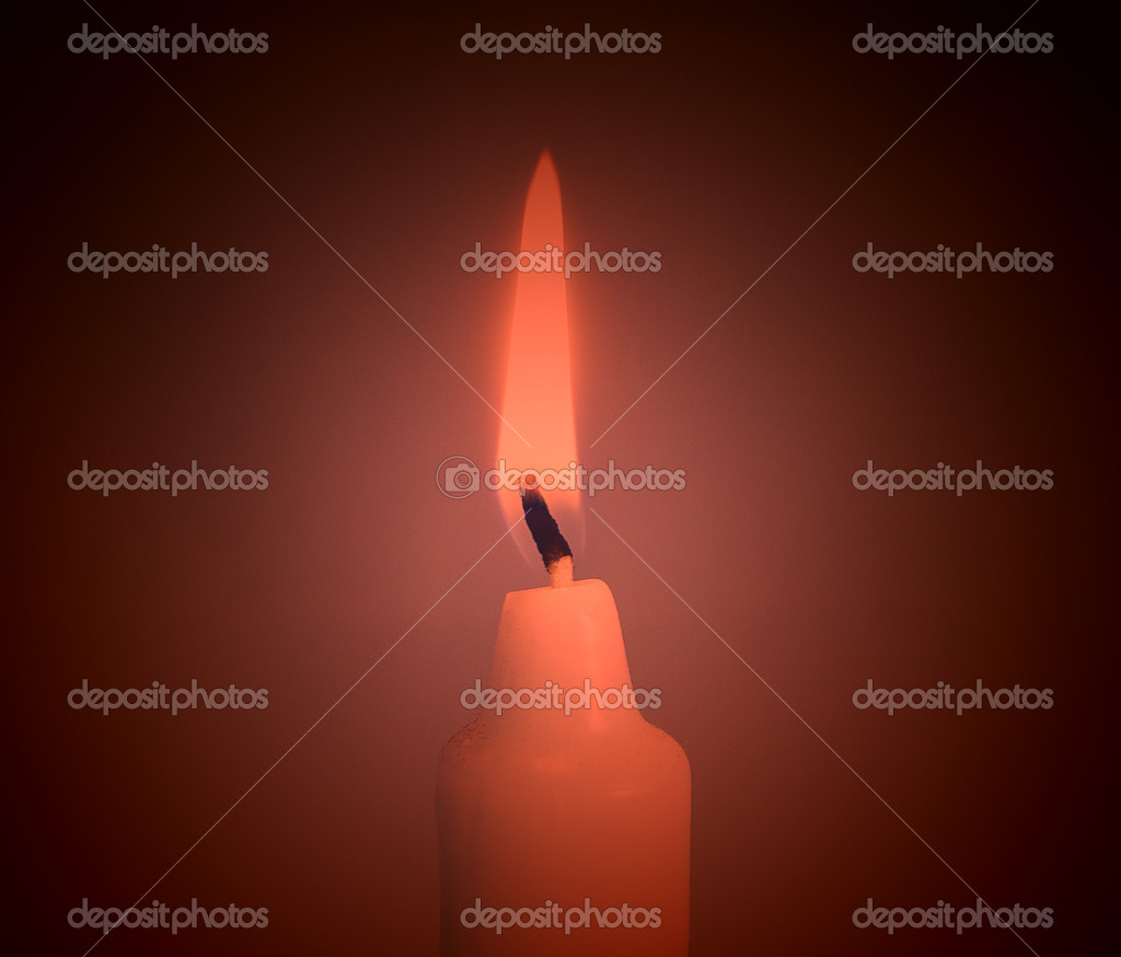 A single burning red candle  — Foto de Stock   #4391989