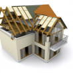 hus under uppbyggnad — Stockfoto