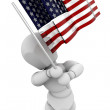 Person waving American flag — Stock Photo