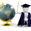 Teacher with globe - Stock Photo