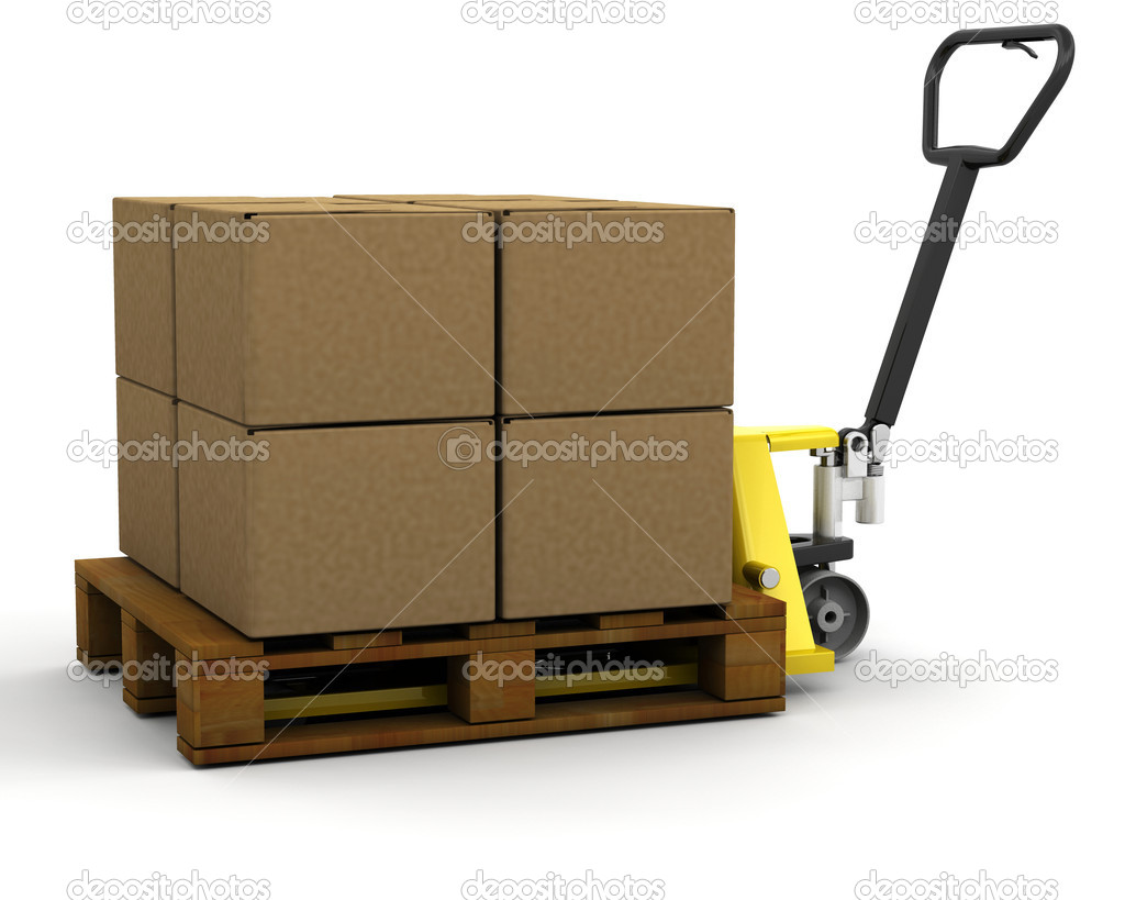 3D render of a pallet truck stacked with boxes  Stock Photo #4407039