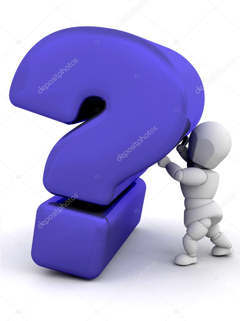 3D render of someone holding up a question mark — Stock Photo #4407750