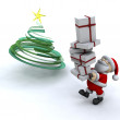 Santa putting a stack of presents under the tree - ストック写真