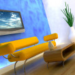 3d render of sofa and tv — Stock Photo