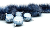Christmas baubles and tinsel — Stock Photo