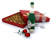 Champagne and chocolates — Stock Photo