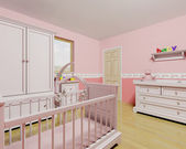 Nursery for baby girl — Stock Photo