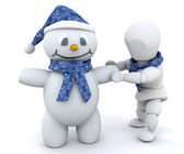 Building a snowman — Stock Photo